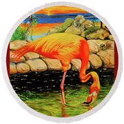 Flamingo's Paradise Round Beach Towel by Cheryl Poland