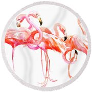 Flamingos Round Beach Towel by Suren Nersisyan