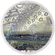 Flammarion Engraving Colored Round Beach Towel