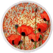 Round Beach Towel featuring the painting Flanders Fields by Valerie Anne Kelly