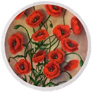 Flander Poppies Round Beach Towel