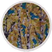 Round Beach Towel featuring the painting Flash Point by Judith Rhue