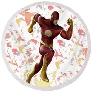 Round Beach Towel featuring the mixed media Flash Splash Super Hero Series by Movie Poster Prints