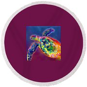 Flash The Turtle Round Beach Towel by Erika Swartzkopf