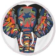 Flashy Elephant Round Beach Towel by Kathleen Sartoris