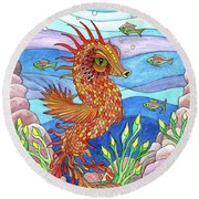 Flashy Swimmer And Fishes Round Beach Towel