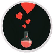 Flask Of Hearts Round Beach Towel