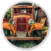 Round Beach Towel featuring the photograph Flat Bed Ford by Nick Zelinsky