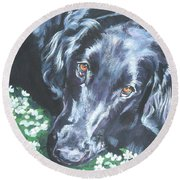 Flat Coated Retriever Round Beach Towel