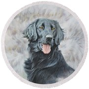 Round Beach Towel featuring the painting Flat Coated Retriever Portrait by Alan M Hunt