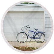 Round Beach Towel featuring the photograph Flat Tire Bicycle by Craig J Satterlee