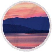 Flathead Lake At Sunrise Round Beach Towel