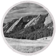 Flatiron Morning Light Boulder Colorado Bw Round Beach Towel