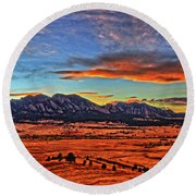 Round Beach Towel featuring the photograph Flatiron Sunset Fire Red by Scott Mahon