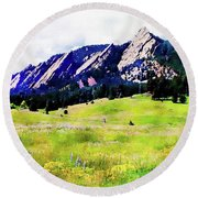 Round Beach Towel featuring the digital art Flatirons - Boulder, Colorado by Joseph Hendrix