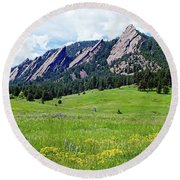 Round Beach Towel featuring the digital art Flatirons Of Boulder, Colorado by Joseph Hendrix
