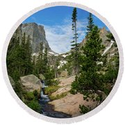 Flattop Mountain In Rocky Mountain National Park Round Beach Towel