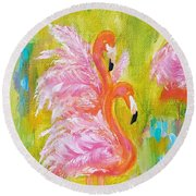 Round Beach Towel featuring the painting Flaunting Feathers by Judith Rhue