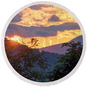 Round Beach Towel featuring the photograph Fleetwood Mountains by Tom Singleton