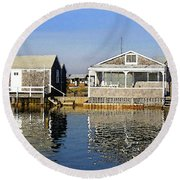 Round Beach Towel featuring the photograph Fletchers Camp And The Little House Sandy Neck by Charles Harden