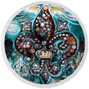 Round Beach Towel featuring the painting Fleur De Lis Steampunk Style by Genevieve Esson