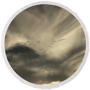 Round Beach Towel featuring the photograph Flight 016 Westbound by Robert Geary