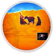 Flight Into Egypt Round Beach Towel