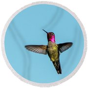 Flight Of A Hummingbird Round Beach Towel