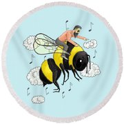 Flight Of The Bumblebee By Nicolai Rimsky Korsakov Round Beach Towel