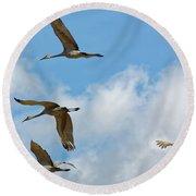 Flight Of The Cranes Round Beach Towel