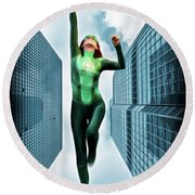 Flight Of The Green Lantern Round Beach Towel