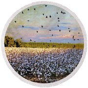 Round Beach Towel featuring the photograph Flight Over The Cotton by Jan Amiss Photography