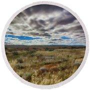 Round Beach Towel featuring the photograph Flinders Ranges Fields  by Douglas Barnard