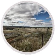 Round Beach Towel featuring the photograph Flinders Ranges Fields V2 by Douglas Barnard