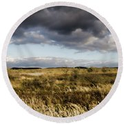 Round Beach Towel featuring the photograph Flinders Ranges Fields V3 by Douglas Barnard