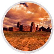 Round Beach Towel featuring the photograph Flinders Ranges Ruins by Douglas Barnard