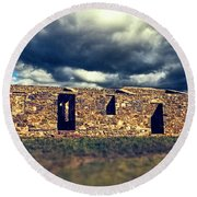 Round Beach Towel featuring the photograph Flinders Ranges Ruins V2 by Douglas Barnard