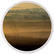 Flint Hills Sunrise Round Beach Towel