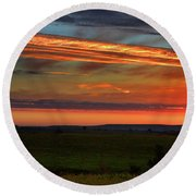 Round Beach Towel featuring the photograph Flint Hills Sunrise by Thomas Bomstad