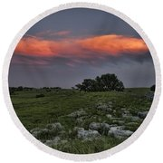 Flinthills Sunset Round Beach Towel