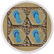 Flip Flop Square Collage Round Beach Towel