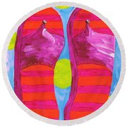 Round Beach Towel featuring the painting Flip Flops  by Eloise Schneider