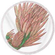 Flippy The Feather Duster, The Exotic Bird Round Beach Towel