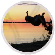 Flips At Sunset Round Beach Towel by Kelly Hazel