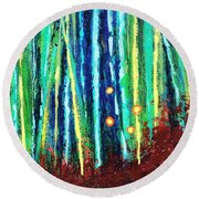 Flir Forest With Orbs  Round Beach Towel