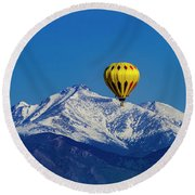 Floating Above The Mountains Round Beach Towel by Teri Virbickis