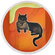 Round Beach Towel featuring the painting Floating Bebe by Denise Fulmer