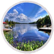 Round Beach Towel featuring the photograph Floating Bridge At Covewood by David Patterson