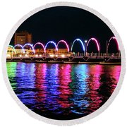 Round Beach Towel featuring the photograph Floating Bridge, Willemstad, Curacao by Kurt Van Wagner