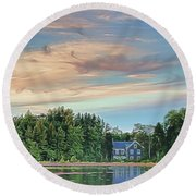 Floating Cranberries In Front Of Suningive Whitesbog Nj Round Beach Towel